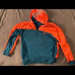 Adidas Trefoil Hoodie - Orange Teal - Great shape